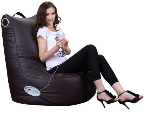 XXL SPEAKER LEATHER BEANBAG HIGH BACK CHAIR GAMER GAMING