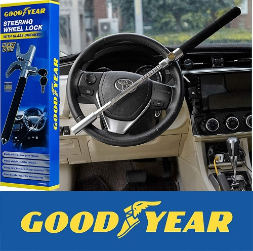 Goodyear GY900160 Heavy Duty Steering Wheel Lock with Emergency Glass Breaker and 2 Keys