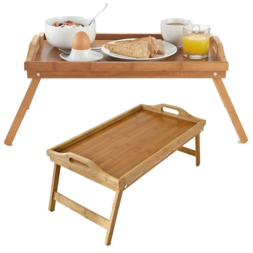 Bamboo Wood Serving Tray Table Breakfast Over Bed Lap Folding Legs Kitchen Serve