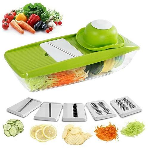 Peel Cut Slice 6 in 1 Mandolin Vegetable Food Slicer Julienne and Container