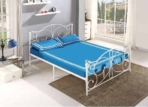 5FT White Metal Bed Frame Bedstead Crystal Finials