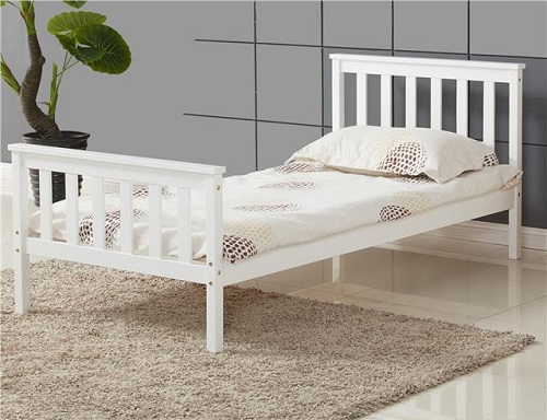 ViVo Single Bed in White 3ft Single Bed Wooden Frame White Pine Wood ...