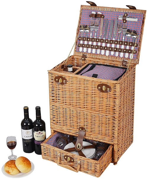 "Vivo Country © Ultimate Luxury 4 Person Natural English Willow Picnic Basket / Hamper ""Easy to Carry"" with Telescopic Handle"