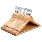 Pack of 20 High Quality Strong Natural Wood Wooden Coat Hangers with Round Trouser Bar and Shoulder Notches (Pack of 20