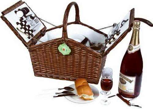Vivo Country Willow Picnic Hamper Basket for 4 Person